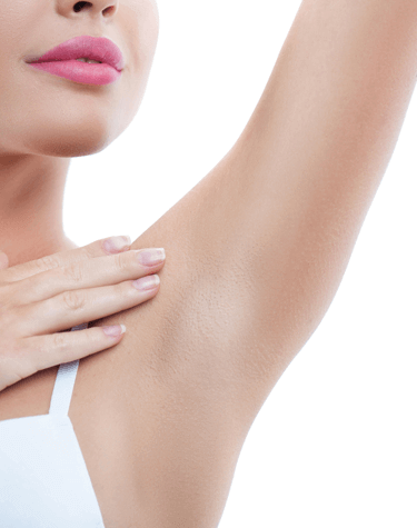 Women holding arm up to show armpit for ETS surgery