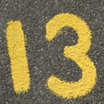 13 painted on the road
